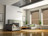 Casa interior con chimenea y sofás — Foto de Stock