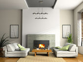 Home interior with fireplace and sofas — Stock Photo