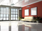 Office interior 3D rendering — Stock Photo