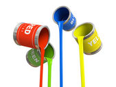 Four banks of multicolored paint — Stock Photo