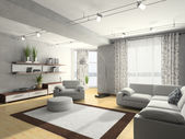 Home interior 3D rendering — 图库照片