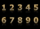 Modern numerals isolated on black — Stock Photo