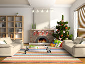 Christmas interior 3D rendering — Stockfoto