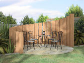 Arbor with furnitures in sunny day — Stock Photo