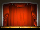 Empty stage with red curtain — Foto de Stock