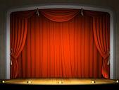 Escenario vacío con cortina roja — Foto de Stock