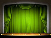 Empty stage with green curtain — Zdjęcie stockowe