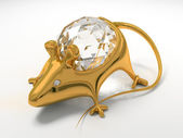Gold jewelry decoration mouse — Stock Photo