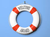 Red and white life buoy — Stock Photo