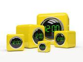 Five yellow clocks — Stock Photo