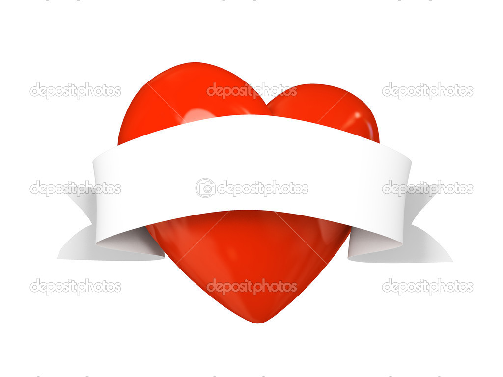 Valentine heart with tape isolated on white background 3D  Stock Photo #2765615