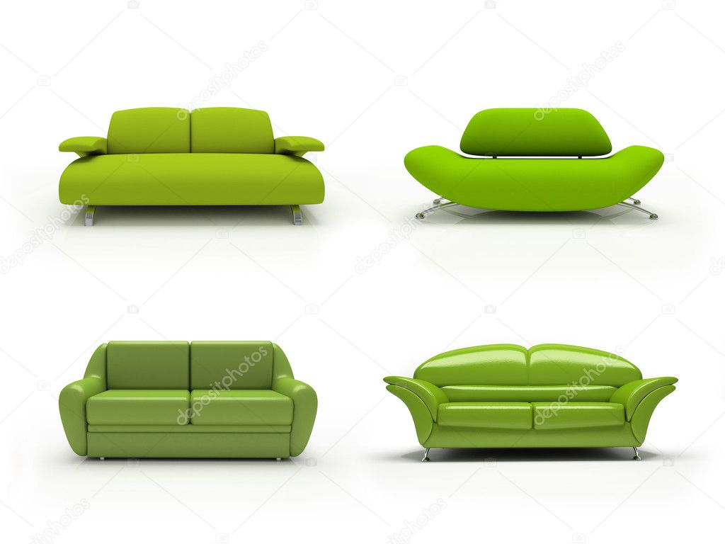 Green four modern sofas on white background  isolated 3d — Stock Photo #2766041