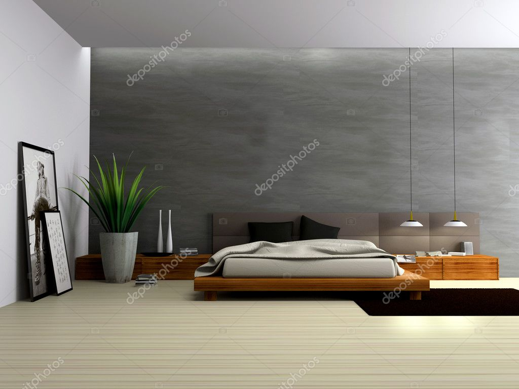Interior of modern bedroom 3D rendering — Stock Photo #2767129