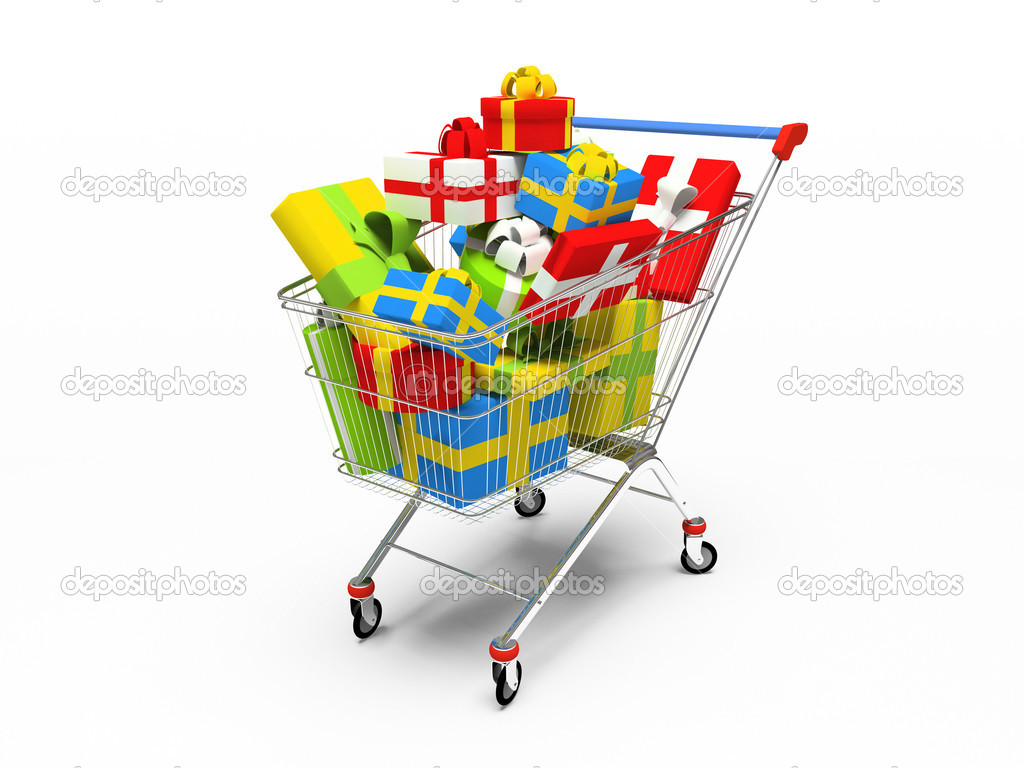 Varicoloured gift boxes in shop pushcart 3D rendering — Stock Photo #2767140
