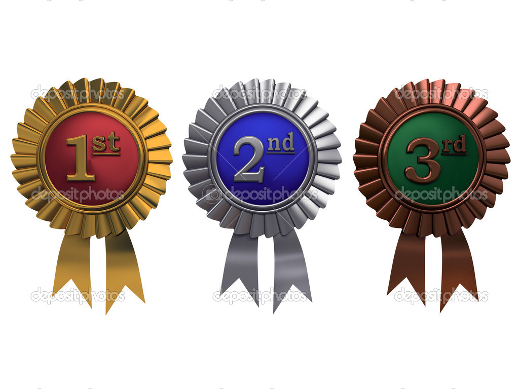 Set of gold, silver and bronze medals on white background — Stock Photo #2767219
