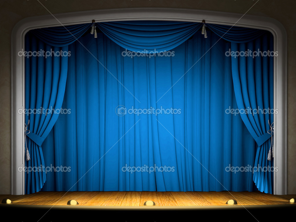 Empty stage with blue curtain in expectation of performance — Stock Photo #2767767