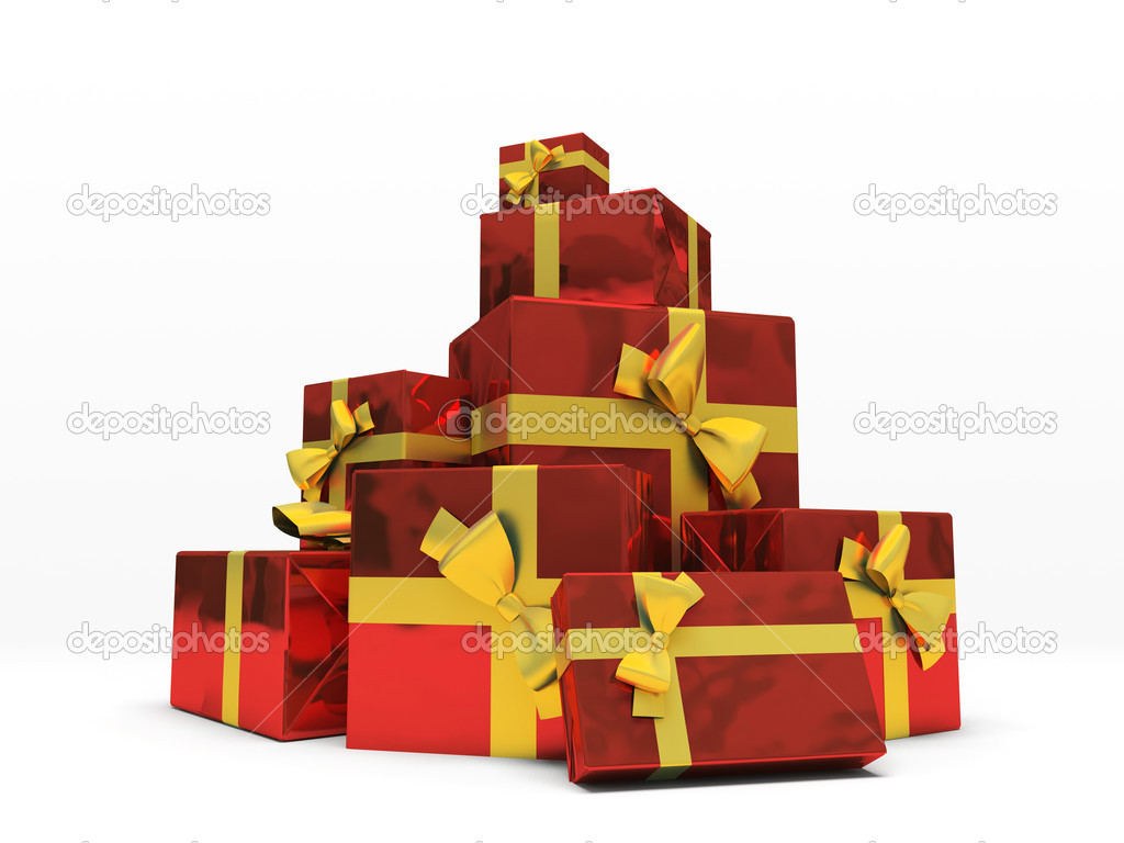 Red gift boxes on white background 3D rendering — Stock Photo #2767866