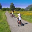 Stock Photo: Bicycling kids