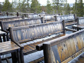 Old Faithful Benches — Stock Photo