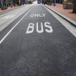Bus only lane on street - Stock Photo