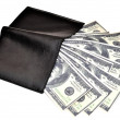Black leather wallet with money — Stockfoto
