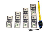 Financial growth with money and measurin — Stock Photo
