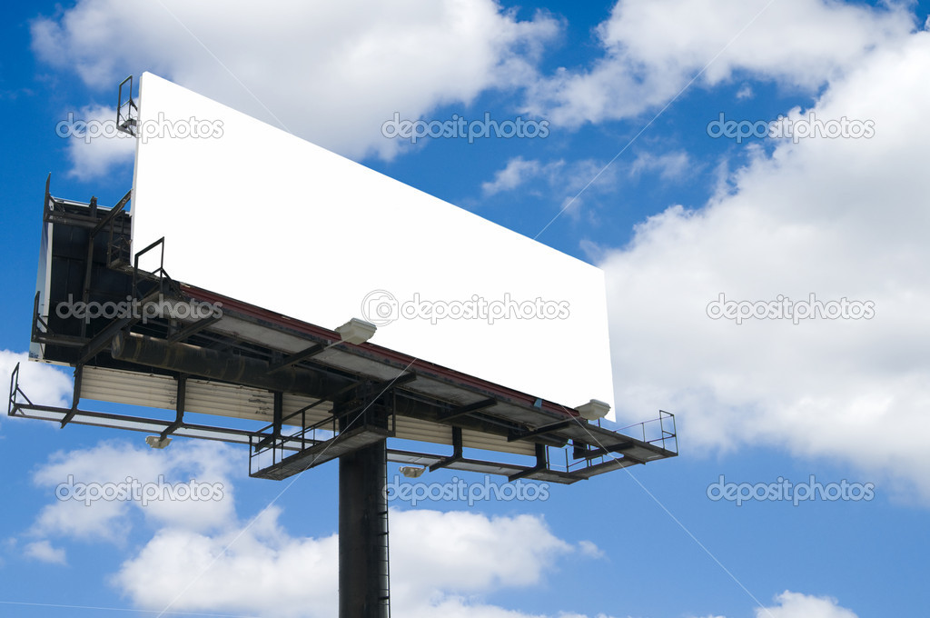 Blank double back to back billboard with partly cloudy sky  Stock Photo #2733766
