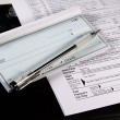图库照片: Preparing Taxes - Check and Forms