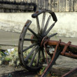 Old Antique & Broken Wagon Wheel - Stock Photo