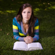 Beautiful Girl in the Park Reading — Stock Photo
