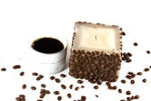 Cup of Coffee and Candle — Stock Photo