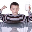 Little Boy Showing His Muscles — Stock Photo