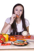 Cute Teenager Preparing Food — Stock Photo