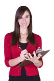 Beautiful Girl With a Clipboard — Stock Photo