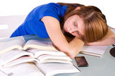 College Student Sleeping on her Desk — Stock Photo