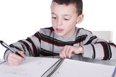 Little Cute Boy Practicing His Writing — Stock Photo