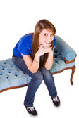 Beautiful Girl Posing on the Couch — Stock Photo