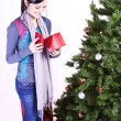 Beautiful Girl by the Christmas Tree — Foto Stock