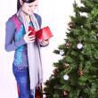 Beautiful Girl by the Christmas Tree — Stockfoto