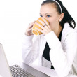 Teenager Drinking Coffee While Working — Stock Photo