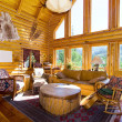 Close up on the Living Room in a Cabin - Stock Photo