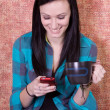 Smiling Teenager Drinking Coffee — Stock Photo