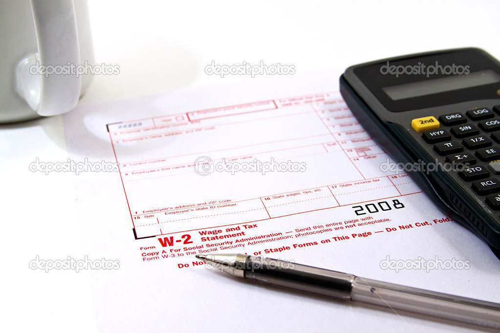 Preparing Taxes - Form W2 for 2008  Stock Photo #2837814