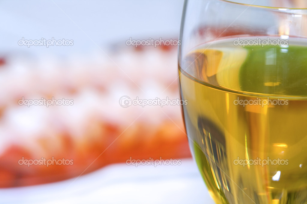 Close up - Shrimps on a Plate with the Wine Glass in Focus  Stock Photo #2838384