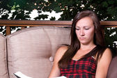Girl Reading a Book — Stock Photo