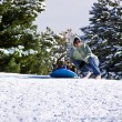 Mother and Son Sledding down the Hill — Stock Photo #2903620