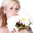 Beautiful Girl Smelling Flowers — Stock Photo #2929690