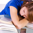 College Student Sleeping on her Desk — Stock Photo #2948284