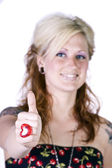 Beautiful Girl Giving the Thumbs Up — Stock Photo