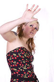 Beautiful Girl Makes a Hand Gesture — Stock Photo